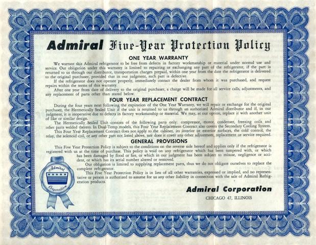 póliza de garantía de refrigerador Admiral