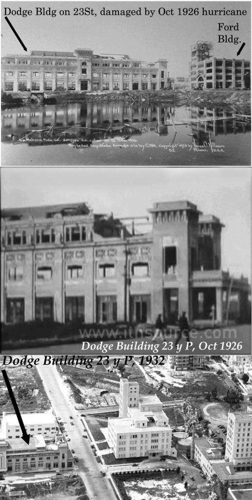 Edificio de la agencia Dodge en 1926 y 1932.