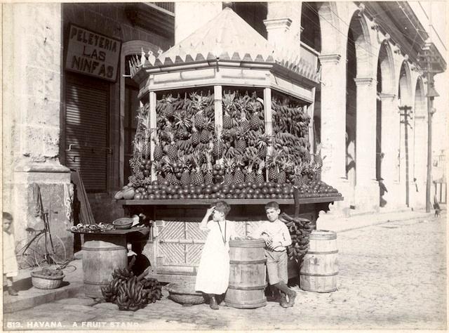 Puesto de frutas frente a la peletería Las Ninfas. 1890s.