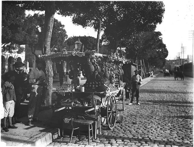 Puesto de frutas en el Paseo del Prado, frente a la Estación de Villanueva. 1906.