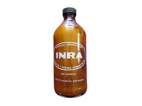 Botella de aceite vegetal comestible INRA