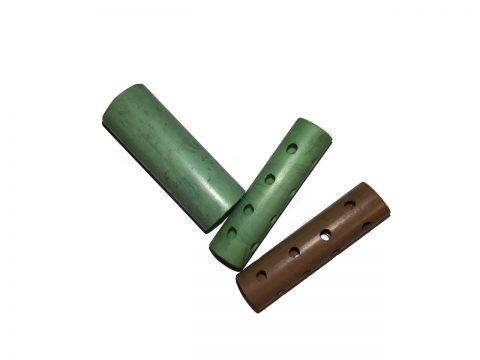 Rolos hechos con tuberías de plástico