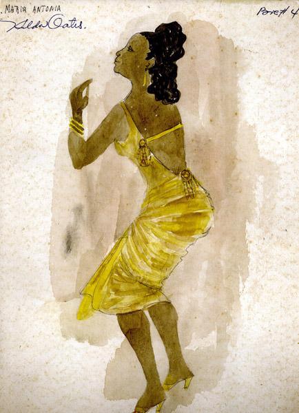 Boceto de traje para la película María Antonia. Imagen tomada de La Jiribilla.