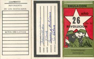 """Carné de emulación CTC """"Año 26 de la Revolución""""."""