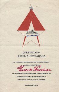 Certificado de Familia Destacada