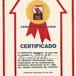 Certificado Cederista Destacado. 1975