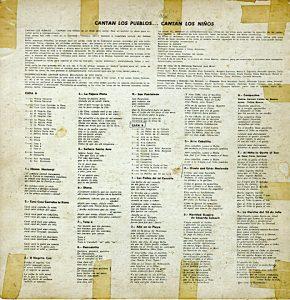 Contra-carátula del disco Cantan los pueblos cantan los ninos